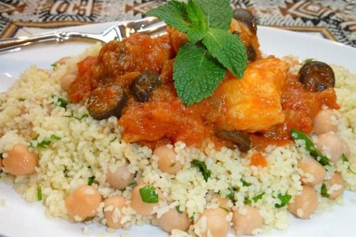 Fish Tagine served with Minty Chickpea Couscous