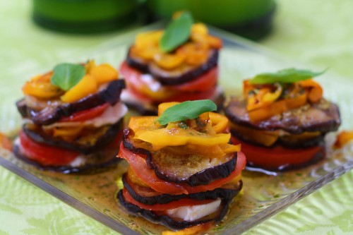 Roasted Aubergine Stack with a Basil Dressing